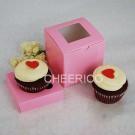 1 Window Pink Cupcake Box w finger hole ($1.60/pc x 25 units)