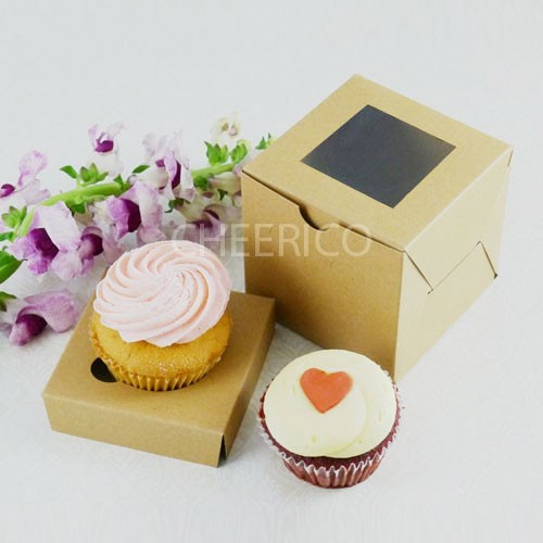 1 Kraft Brown Window Cupcake Box ($1.60/pc x 25 units)