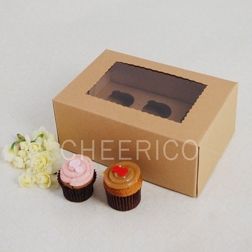 6 Kraft Brown Window MIni Cupcake Box ($2.50/pc x 25 units)