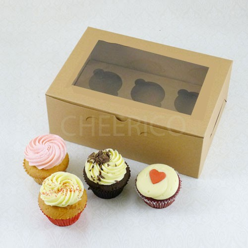 6 Cupcake Window Kraft Brown Box($2.55/pc x 25 units)