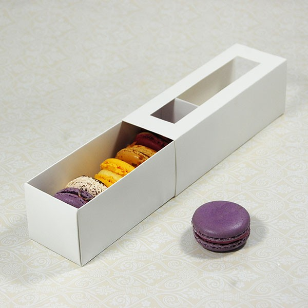 6 White Window Macaron Boxes($2.10/pc x 25 units)
