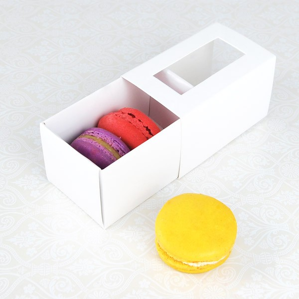 3 Macaron White Window Macaron Boxes($1.50/pc x 25 units)