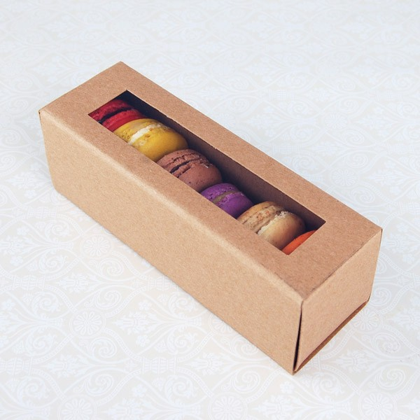 6 Macaron Kraft Brown Boxes($2.20/pc x 25 units)