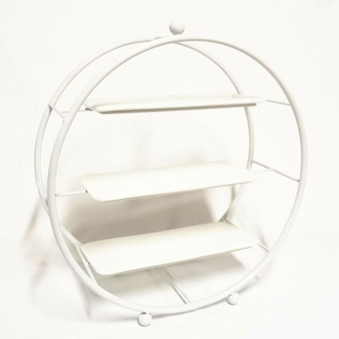 3 Tier Iron Cupcake Stand White Metal Round Tiered Dessert Display Holder Wedding