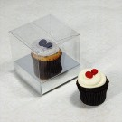 1 Cupcake Clear Mini Cupcake Boxes w Silver insert($1.50pc x 25 units)